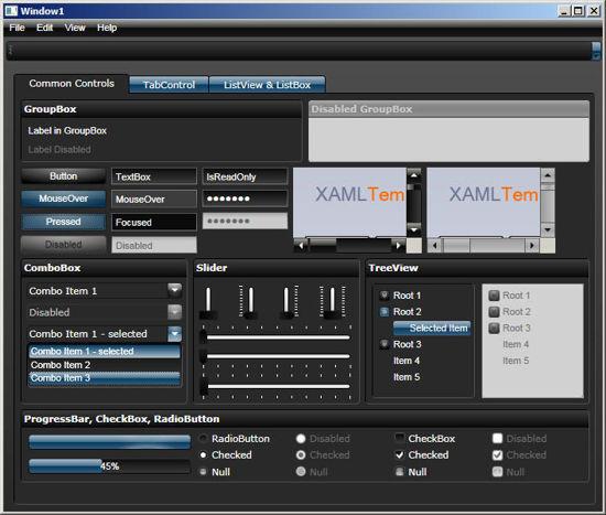 WPF/XAML Theme/Style/Template dark brown blue