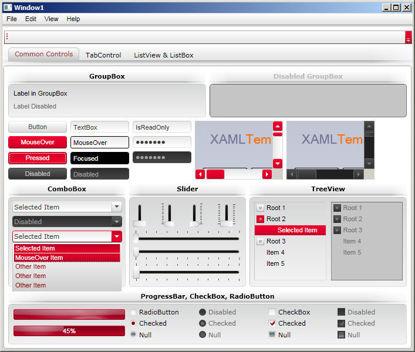 WPF/XAML Theme/Style/Template white pink/red
