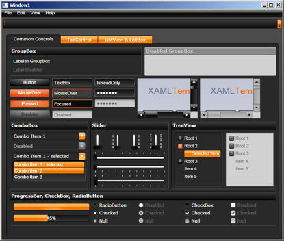 WPF/XAML Theme/Style/Template dark grey orange