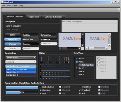 WPF/XAML Theme/Style/Template dark grey light blue