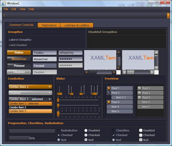 WPF/XAML Theme/Style/Template dark purple orange