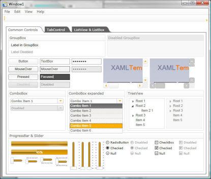 WPF/XAML Theme/Style/Template white orange grey