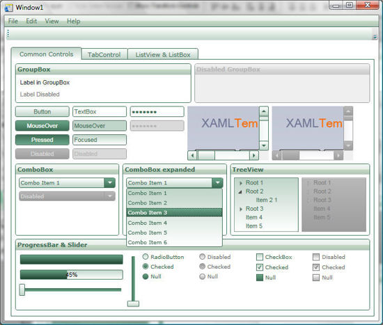 WPF/XAML Theme/Style/Template white light green