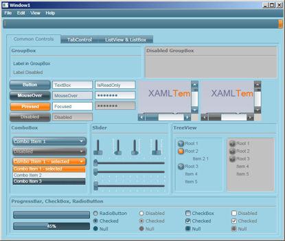 WPF/XAML Theme/Style/Template cyan orange
