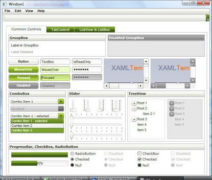 WPF/XAML Theme/Style/Template white dark green