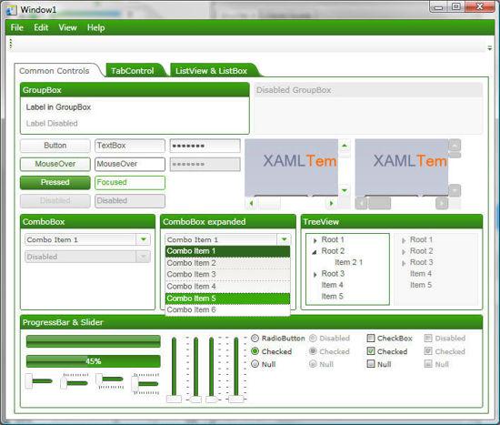 WPF/XAML Theme/Style/Template white leafy green