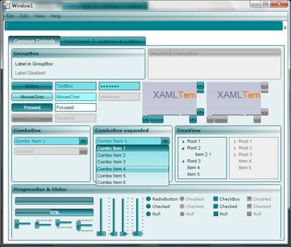 WPF/XAML Theme/Style/Template cyan