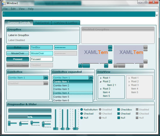 WPF/XAML Theme/Style/Template cyan
