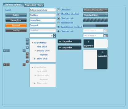 Silverlight Theme/Style/Template Cyan dark blue orange