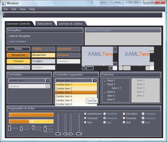 WPF/XAML Theme/Style/Template Dark navy blue orange