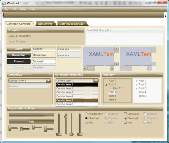 WPF/XAML Theme/Style/Template light brown