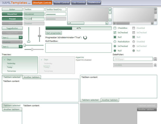 Silverlight Theme/Style/Template light green